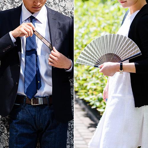 【白竹堂×長谷川松寿堂】京友禅和紙紗綾形扇子/グリーン