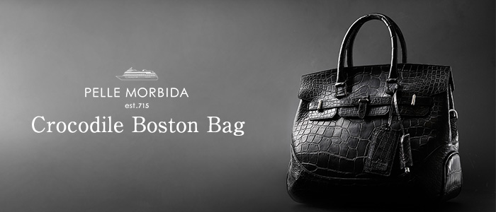 【PELLE MORBIDA】 Crocodile Boston Bag