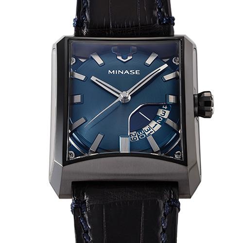 "【MINASE】腕時計「FIVE WINDOWS」限定復刻カラー""ブラックケース×ブルー文字盤"""