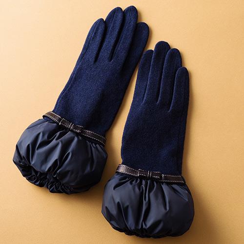 【福田手袋】L'apero(ラペロ)ボリュームカフリボン付グローブ Blanche Neige