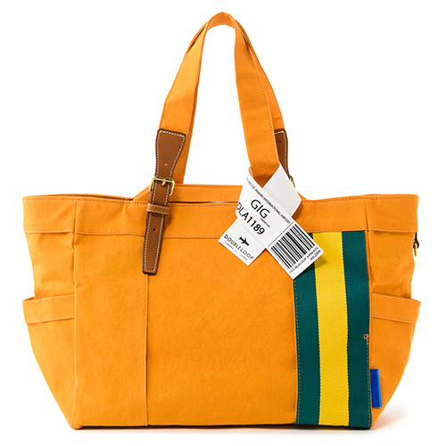 "【DOUBLELOOP】JOURNEY resort tote""LARGE""「ブラジル×オレンジ」/帆布トートバッグ"